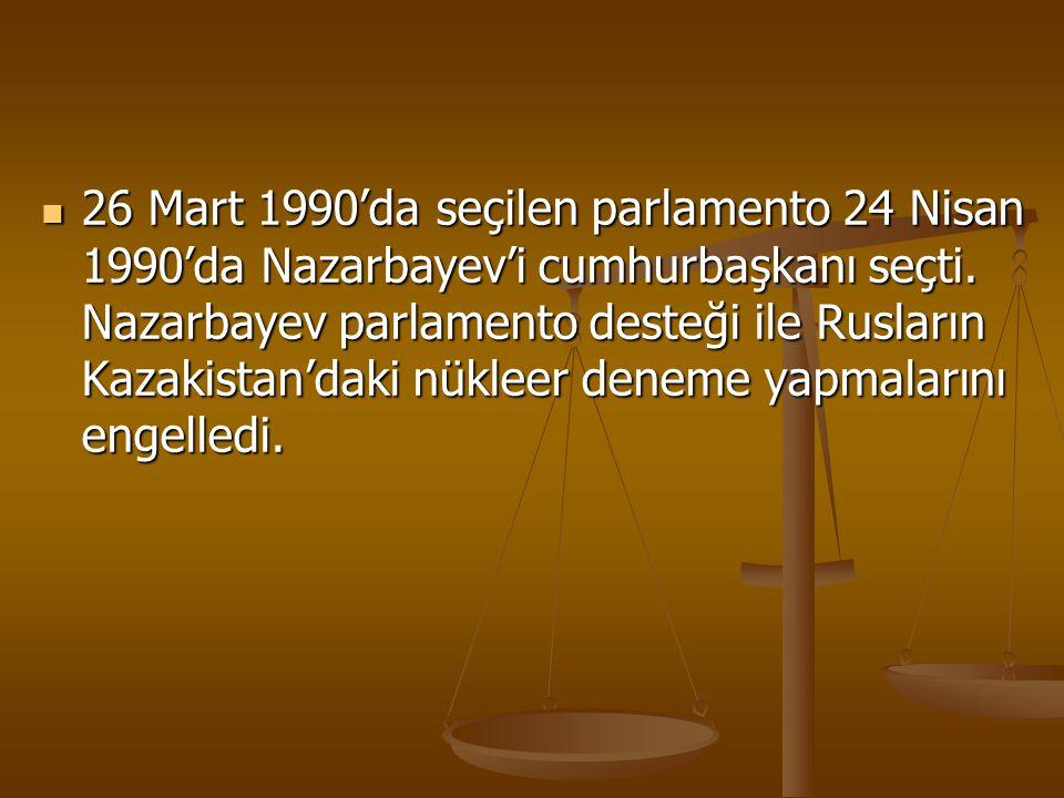 26 Mart 1990'da seçilen parlamento 24 Nisan 1990'da Nazarbayev'i cumhurbaşkanı seçti. Nazarbayev parlamento desteği ile Rusların Kazakistan'daki nükle
