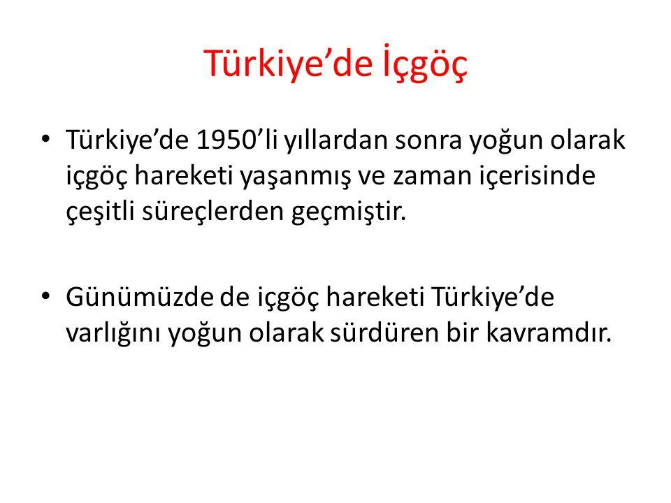Türkiye'de İçgöç Türkiye'de 1950'li yıllardan sonra yoğun olarak içgöç hareketi yaşanmış ve zaman içerisinde çeşitli süreçlerden geçmiştir. Günümüzde