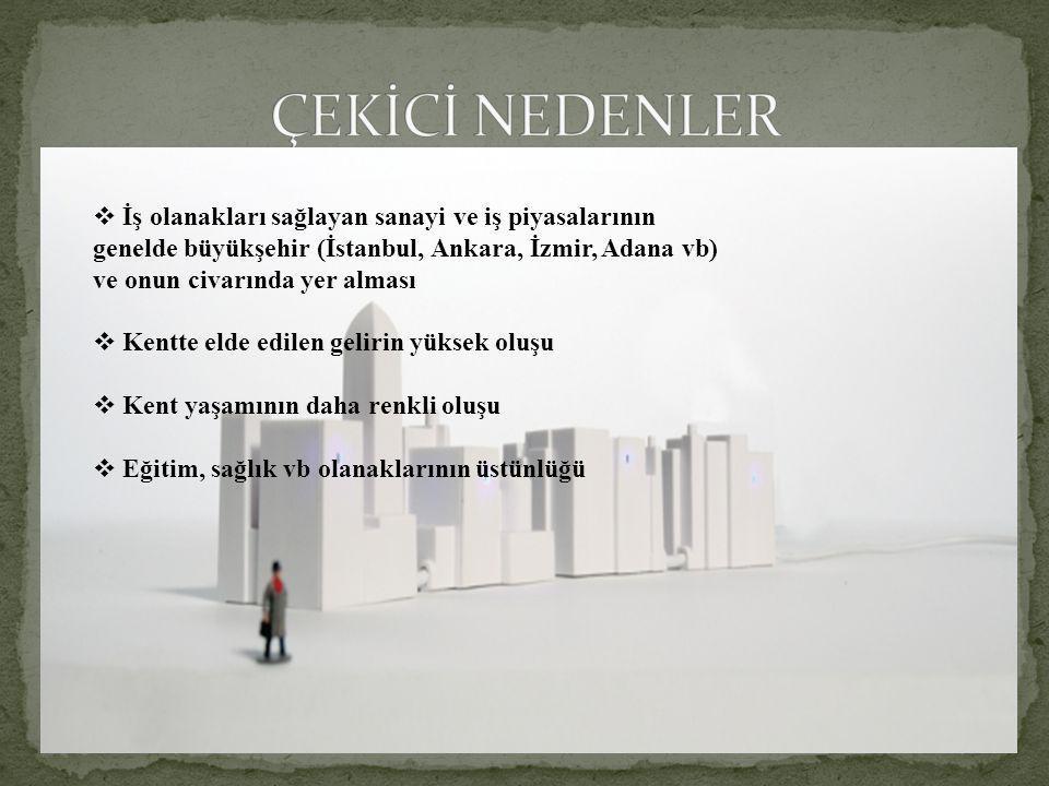  İş olanakları sağlayan sanayi ve iş piyasalarının genelde büyükşehir (İstanbul, Ankara, İzmir, Adana vb) ve onun civarında yer alması  Kentte elde edilen gelirin yüksek oluşu  Kent yaşamının daha renkli oluşu  Eğitim, sağlık vb olanaklarının üstünlüğü