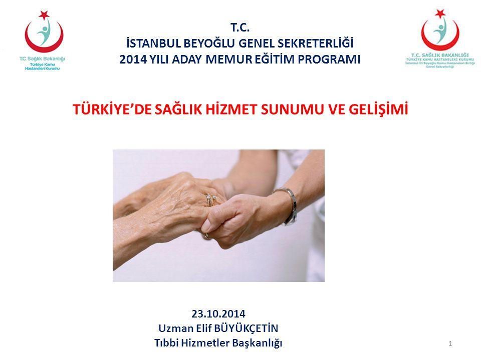 12 TÜRKİYE'DE SAĞLIK HİZMETLERİNİN GELİŞİMİ 2000' li Yıllar : SSK Hastaneleri 2006 yılında 5283 Sayılı Yasa ile Sağlık Bakanlığı' na devredildi.