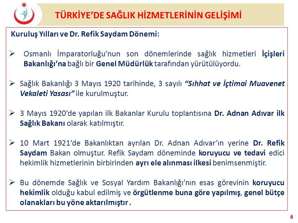 TÜRKİYE'DE SAĞLIK HİZMETLERİNİN GELİŞİMİ 6 Kuruluş Yılları ve Dr. Refik Saydam Dönemi:  Osmanlı İmparatorluğu'nun son dönemlerinde sağlık hizmetleri