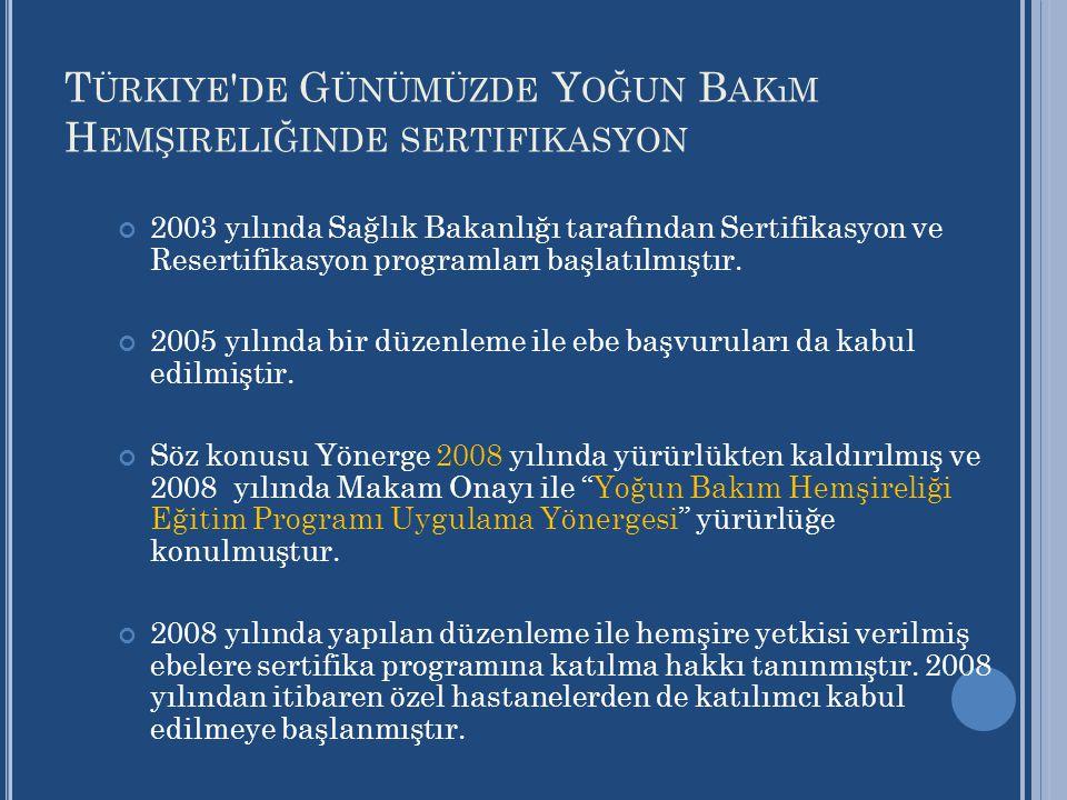 T ÜRKIYE ' DE G ÜNÜMÜZDE Y OĞUN B AKıM H EMŞIRELIĞINDE SERTIFIKASYON 2003 yılında Sağlık Bakanlığı tarafından Sertifikasyon ve Resertifikasyon program