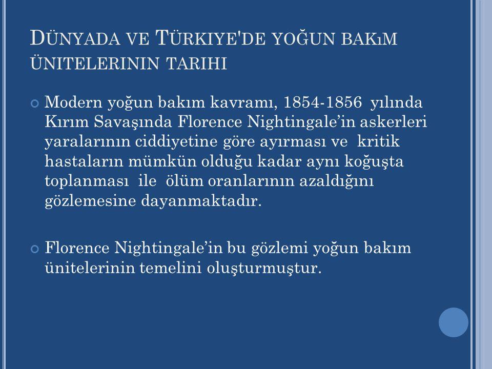 D ÜNYADA VE T ÜRKIYE ' DE YOĞUN BAKıM ÜNITELERININ TARIHI Modern yoğun bakım kavramı, 1854-1856 yılında Kırım Savaşında Florence Nightingale'in askerl
