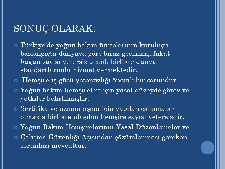 SONUÇ OLARAK; Türkiye'de yoğun bakım ünitelerinin kuruluşu başlangıçta dünyaya göre biraz gecikmiş, fakat bugün sayısı yetersiz olmak birlikte dünya s