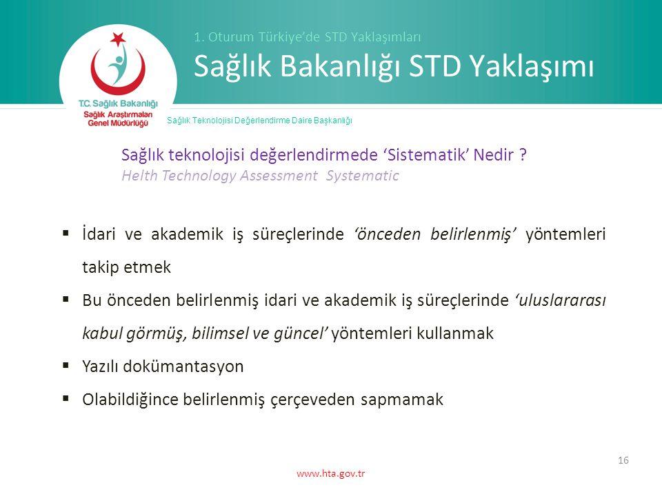 www.hta.gov.tr 16 Sağlık Teknolojisi Değerlendirme Daire Başkanlığı 1.