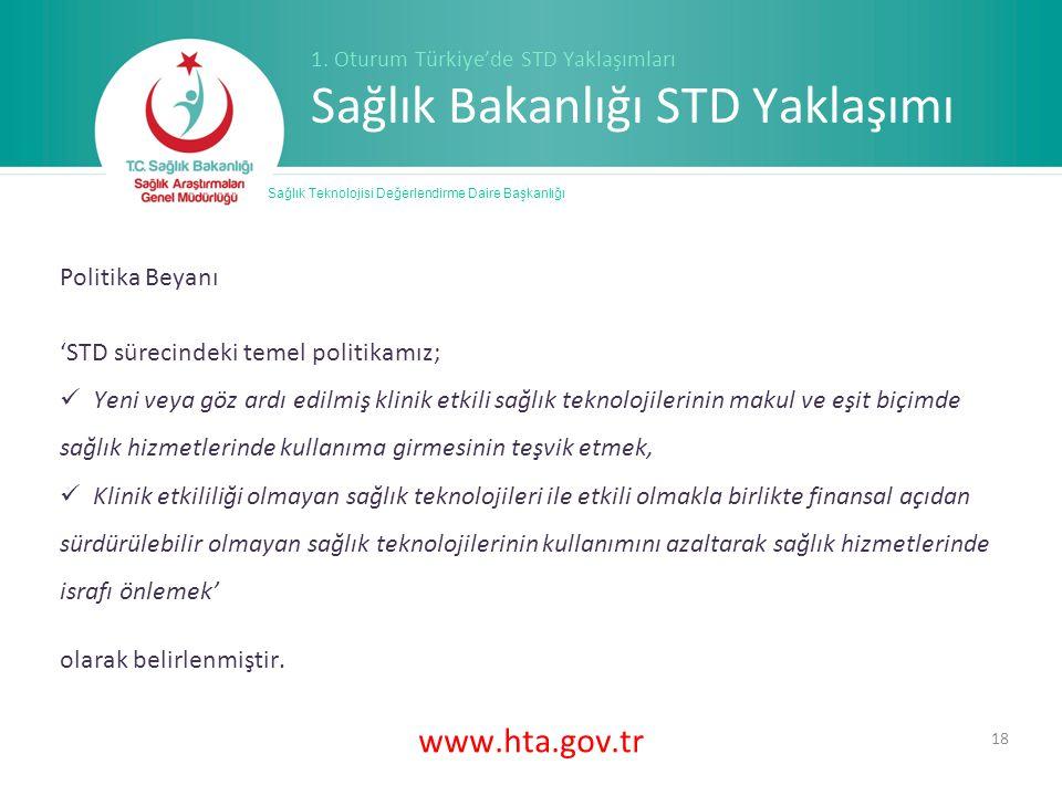 www.hta.gov.tr 18 Sağlık Teknolojisi Değerlendirme Daire Başkanlığı 1.