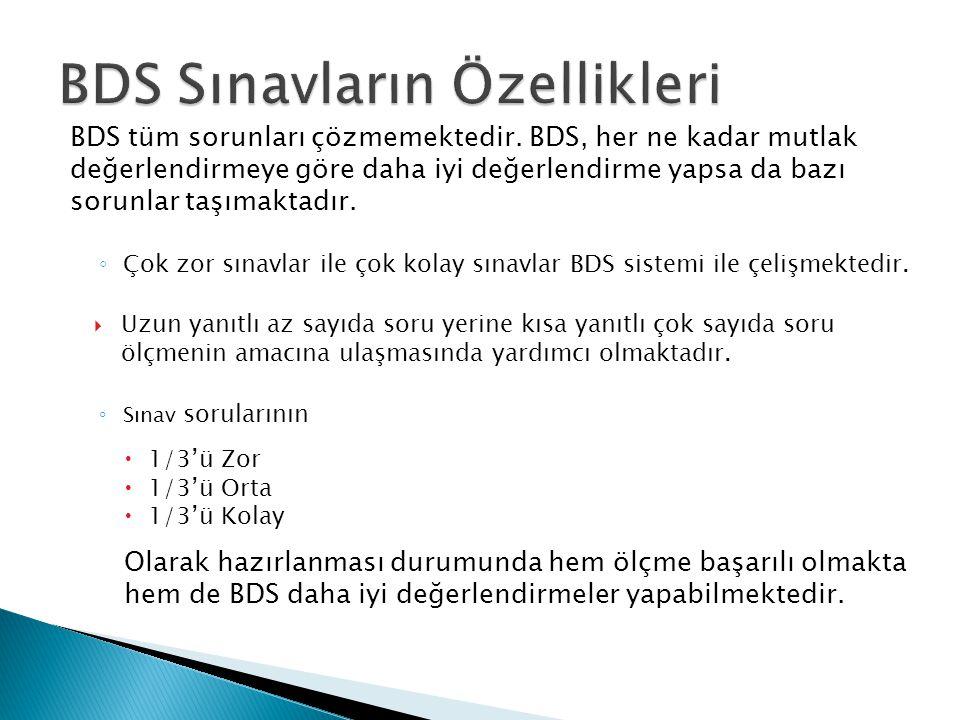 BDS tüm sorunları çözmemektedir. BDS, her ne kadar mutlak değerlendirmeye göre daha iyi değerlendirme yapsa da bazı sorunlar taşımaktadır. ◦ Çok zor s