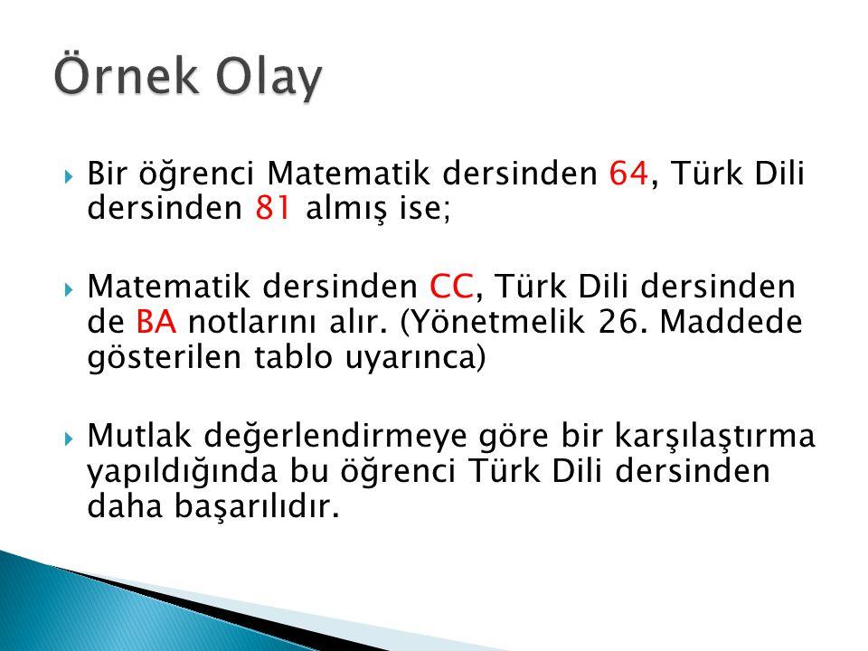  Bir öğrenci Matematik dersinden 64, Türk Dili dersinden 81 almış ise;  Matematik dersinden CC, Türk Dili dersinden de BA notlarını alır. (Yönetmeli