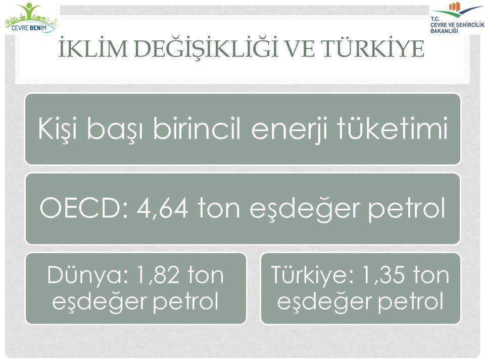İKLİM DEĞİŞİKLİĞİ VE TÜRKİYE Kişi başı birincil enerji tüketimi OECD: 4,64 ton eşdeğer petrol Türkiye: 1,35 ton eşdeğer petrol Dünya: 1,82 ton eşdeğer
