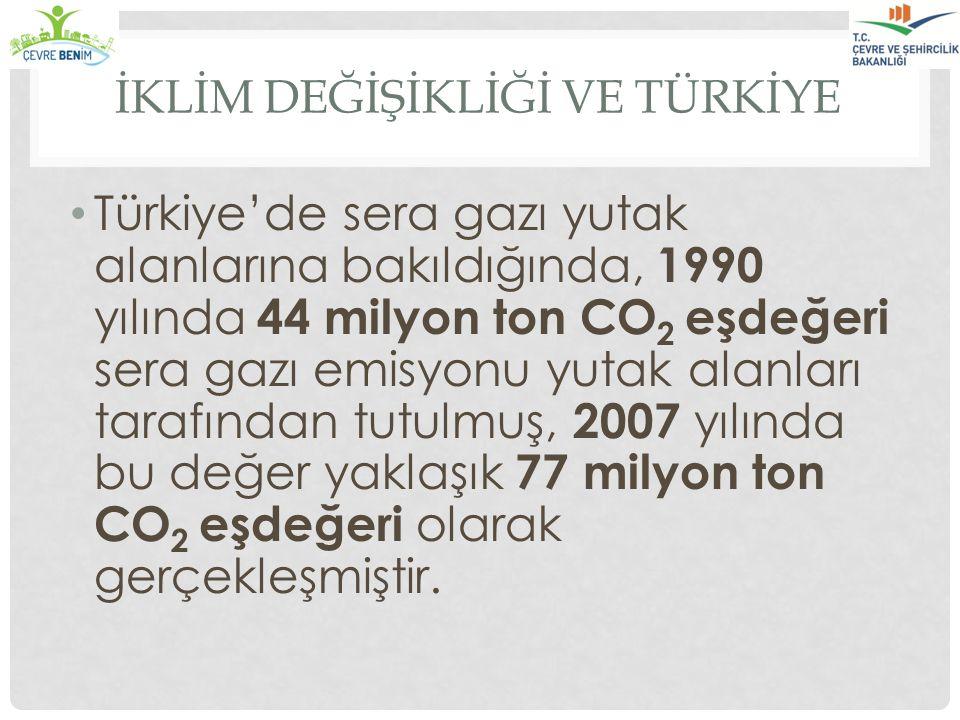 İKLİM DEĞİŞİKLİĞİ VE TÜRKİYE Türkiye'de sera gazı yutak alanlarına bakıldığında, 1990 yılında 44 milyon ton CO 2 eşdeğeri sera gazı emisyonu yutak ala