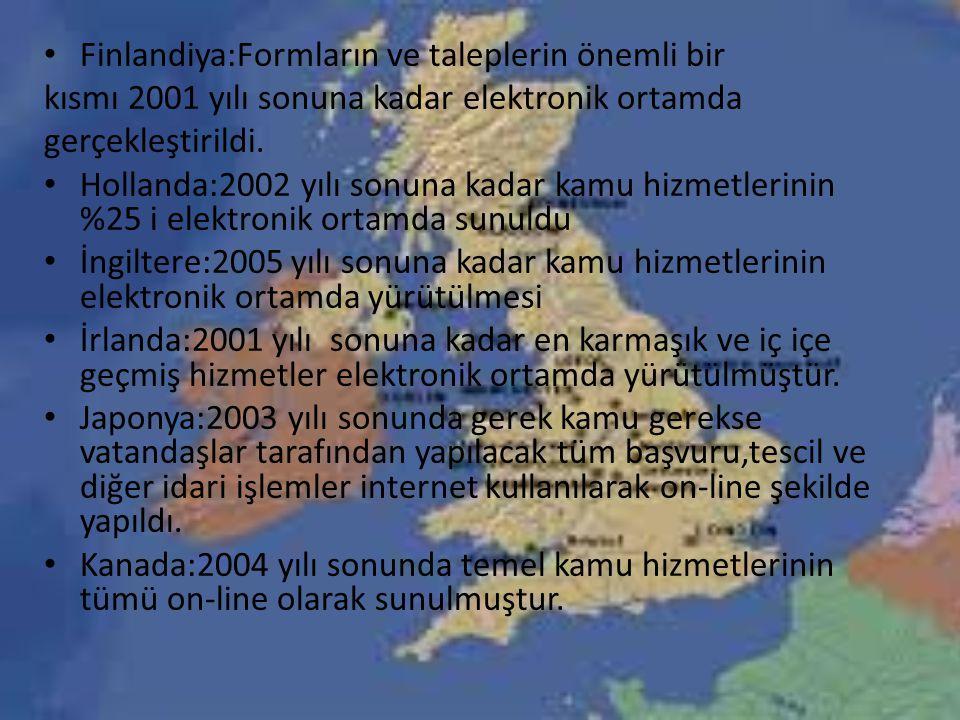 Finlandiya:Formların ve taleplerin önemli bir kısmı 2001 yılı sonuna kadar elektronik ortamda gerçekleştirildi.