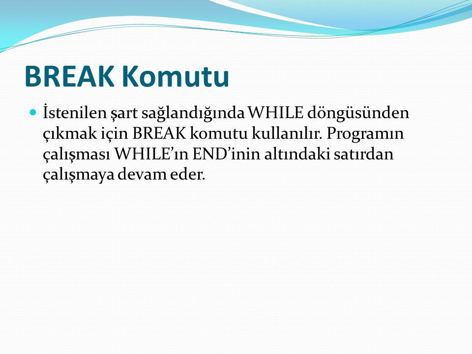 BREAK Komutu İstenilen şart sağlandığında WHILE döngüsünden çıkmak için BREAK komutu kullanılır. Programın çalışması WHILE'ın END'inin altındaki satır