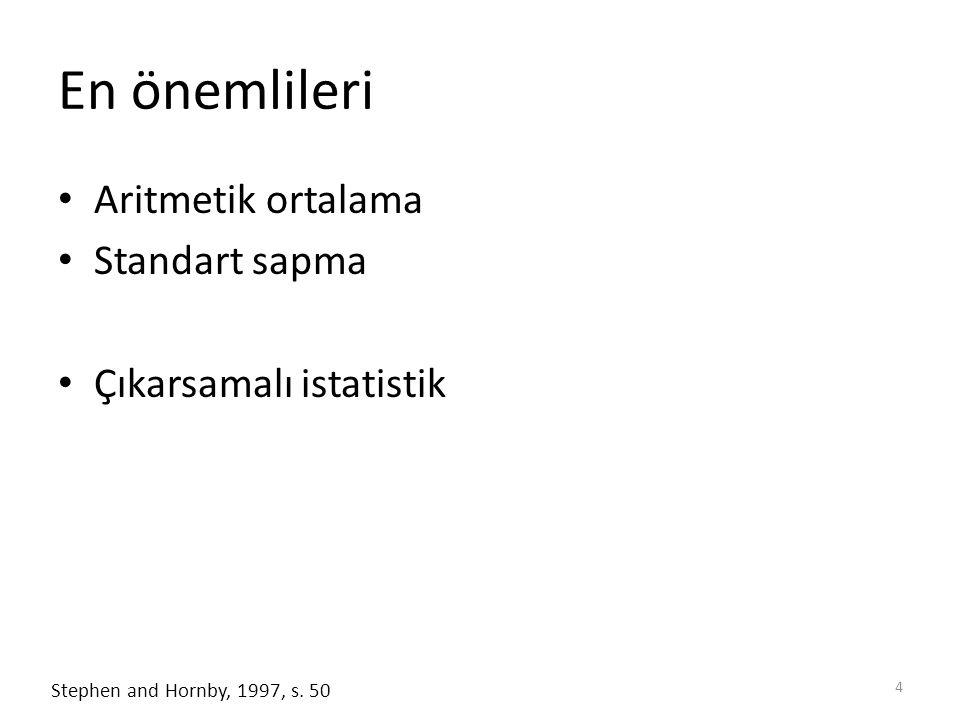 En önemlileri Aritmetik ortalama Standart sapma Çıkarsamalı istatistik 4 Stephen and Hornby, 1997, s. 50