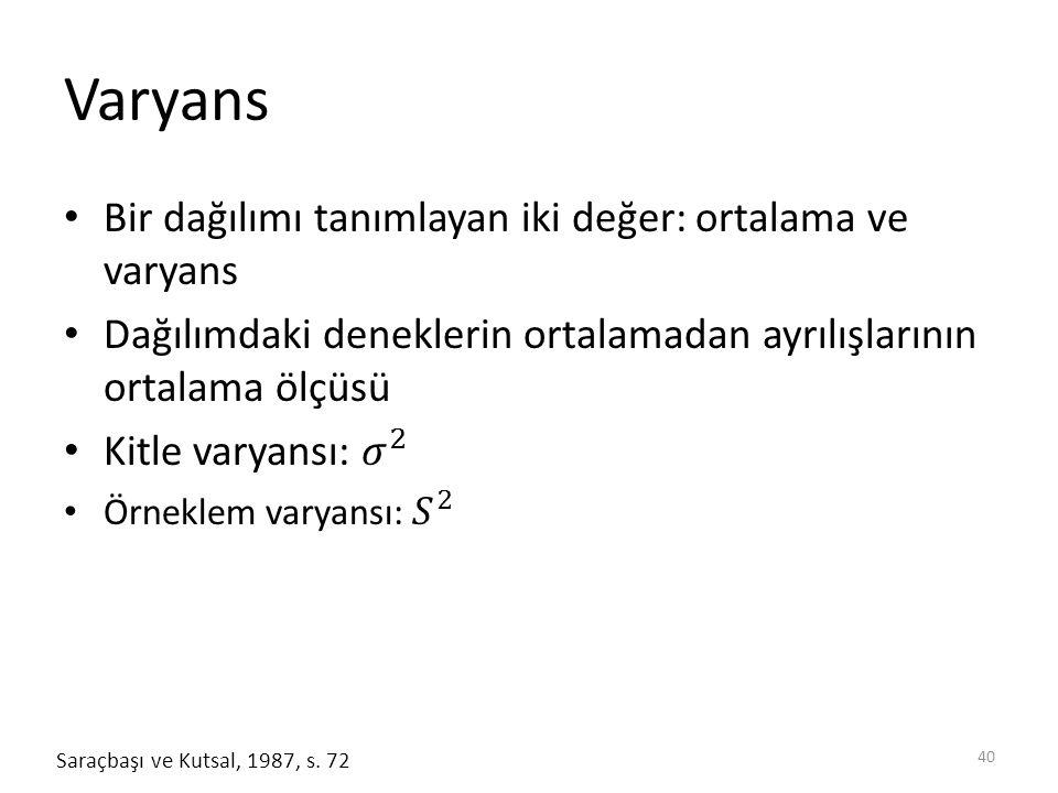Varyans 40 Saraçbaşı ve Kutsal, 1987, s. 72