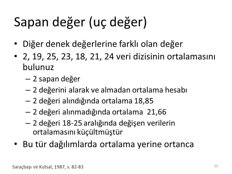 Sapan değer (uç değer) Diğer denek değerlerine farklı olan değer 2, 19, 25, 23, 18, 21, 24 veri dizisinin ortalamasını bulunuz – 2 sapan değer – 2 değ
