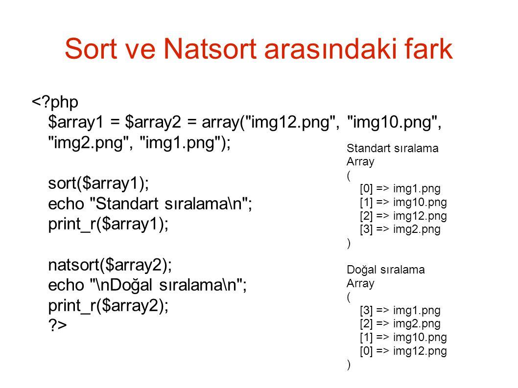 Sort ve Natsort arasındaki fark Standart sıralama Array ( [0] => img1.png [1] => img10.png [2] => img12.png [3] => img2.png ) Doğal sıralama Array ( [3] => img1.png [2] => img2.png [1] => img10.png [0] => img12.png )