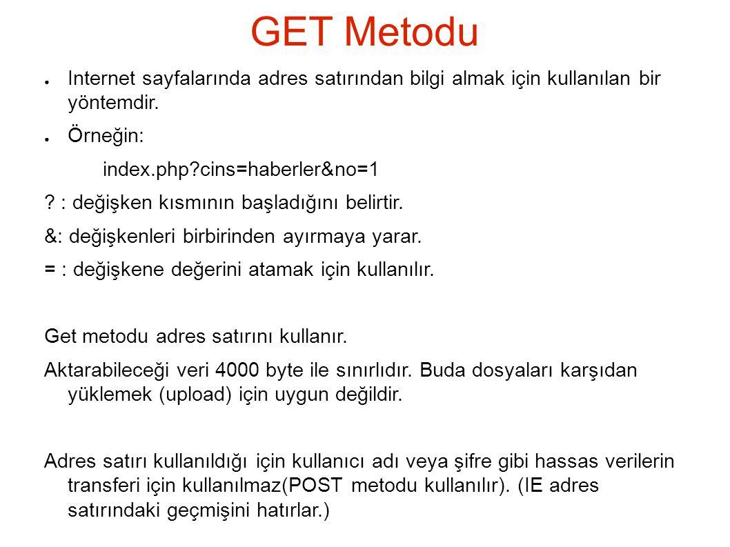 GET Metodu ● Internet sayfalarında adres satırından bilgi almak için kullanılan bir yöntemdir.