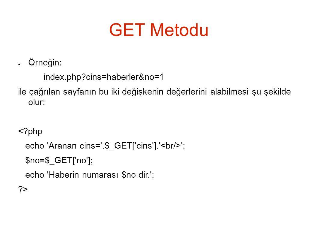 GET Metodu ● Örneğin: index.php?cins=haberler&no=1 ile çağrılan sayfanın bu iki değişkenin değerlerini alabilmesi şu şekilde olur: <?php echo Aranan cins= .$_GET[ cins ]. ; $no=$_GET[ no ]; echo Haberin numarası $no dir. ; ?>