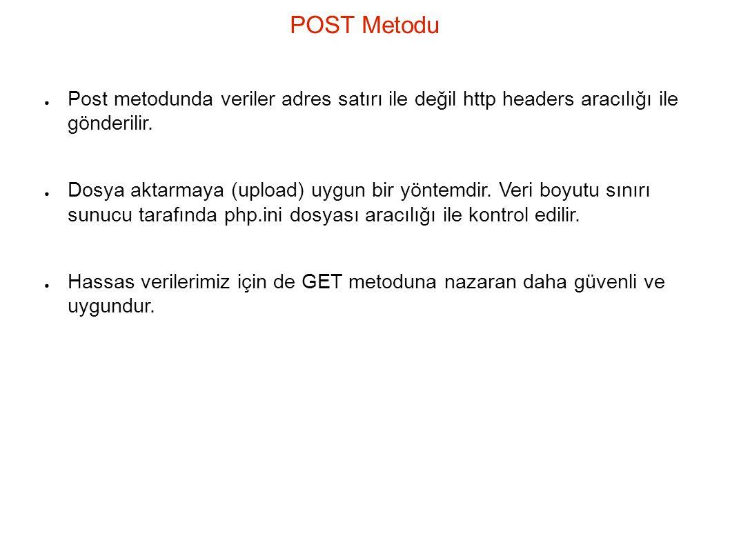 POST Metodu ● Post metodunda veriler adres satırı ile değil http headers aracılığı ile gönderilir.
