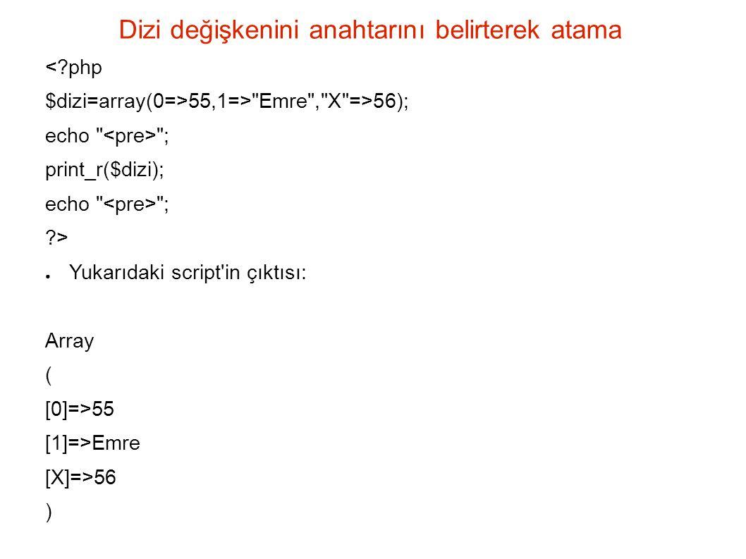 uasort 4, b => 8, c => -1, d => -9, e => 2, f => 5, g => 3, h => -4); print_r($dizi); // Sıralayıp sonucu basalım uasort($dizi, karş ); print_r($dizi); .