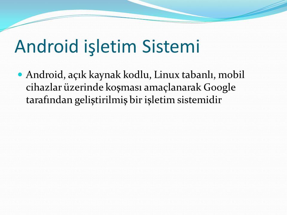 Android işletim Sistemi Android, açık kaynak kodlu, Linux tabanlı, mobil cihazlar üzerinde koşması amaçlanarak Google tarafından geliştirilmiş bir işl