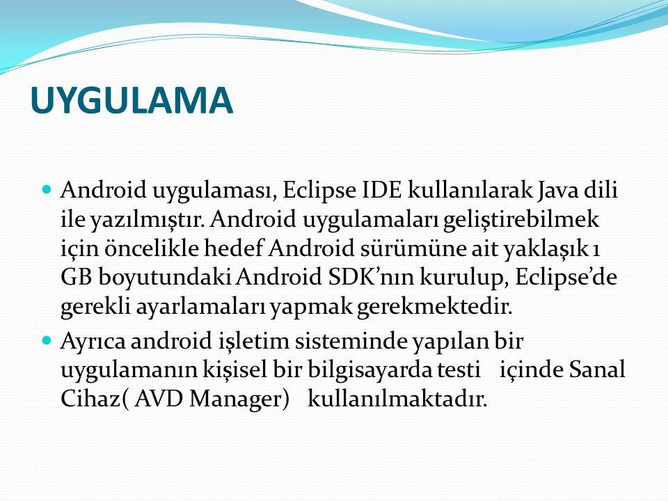 UYGULAMA Android uygulaması, Eclipse IDE kullanılarak Java dili ile yazılmıştır. Android uygulamaları geliştirebilmek için öncelikle hedef Android sür