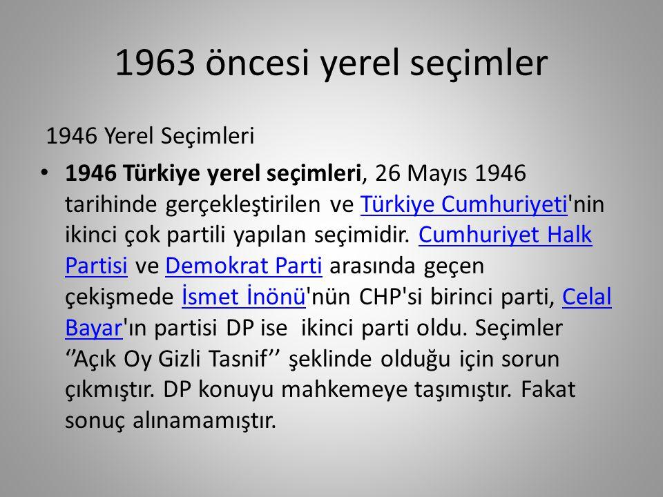 1963 öncesi yerel seçimler 1930 Yerel Seçimleri 1930 yerel seçimleri Türkiye Cumhuriyeti tarihindeki ilk çok partili seçimdir.
