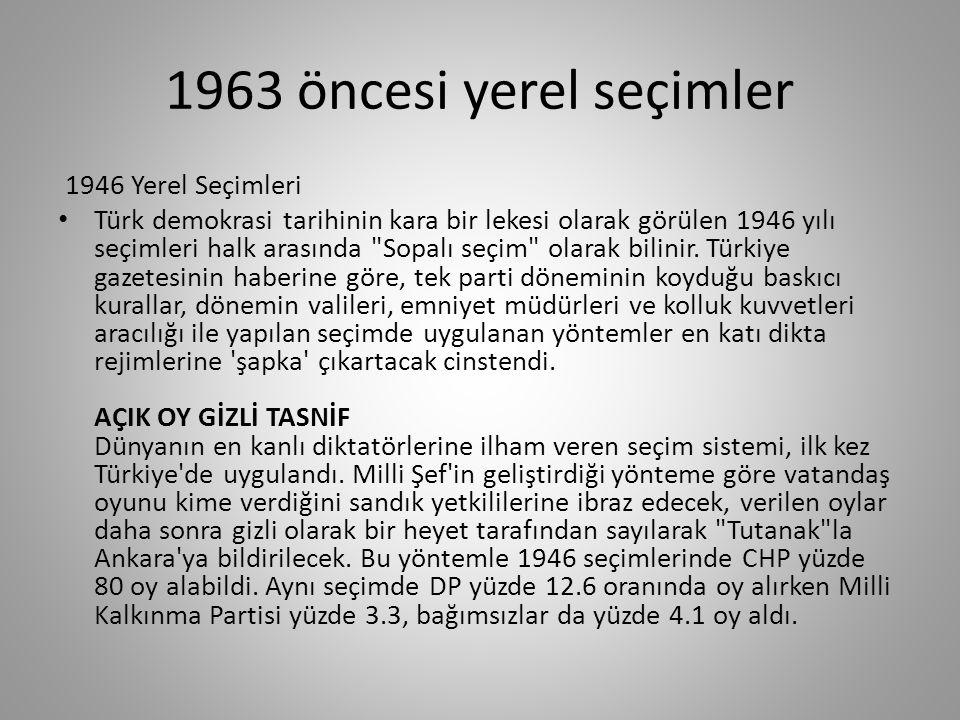 1963 öncesi yerel seçimler 1946 Yerel Seçimleri 1946 Türkiye yerel seçimleri, 26 Mayıs 1946 tarihinde gerçekleştirilen ve Türkiye Cumhuriyeti nin ikinci çok partili yapılan seçimidir.