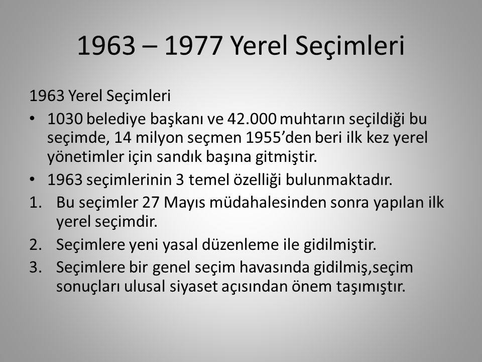 1963 öncesi yerel seçimler 1946 Yerel Seçimleri Türk demokrasi tarihinin kara bir lekesi olarak görülen 1946 yılı seçimleri halk arasında Sopalı seçim olarak bilinir.