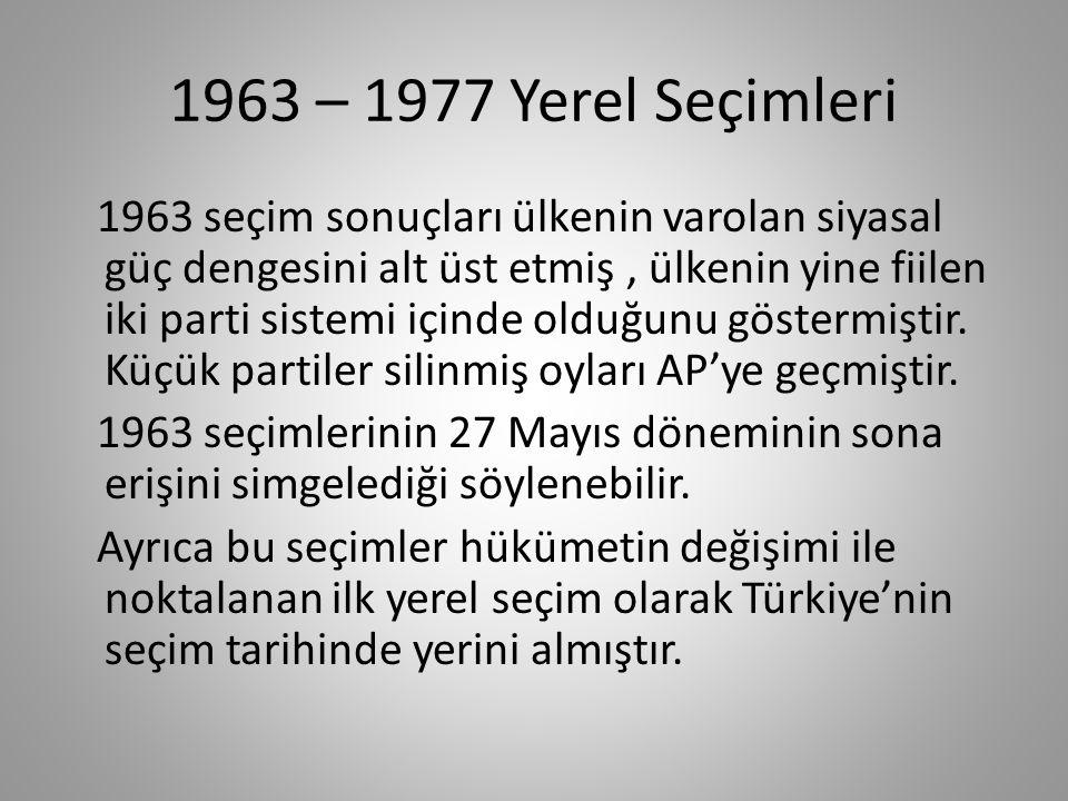 1963 – 1977 Yerel Seçimleri 1963 yerel yönetim seçimlerine 6 siyasal parti ve bağımsızlar katılmıştır.