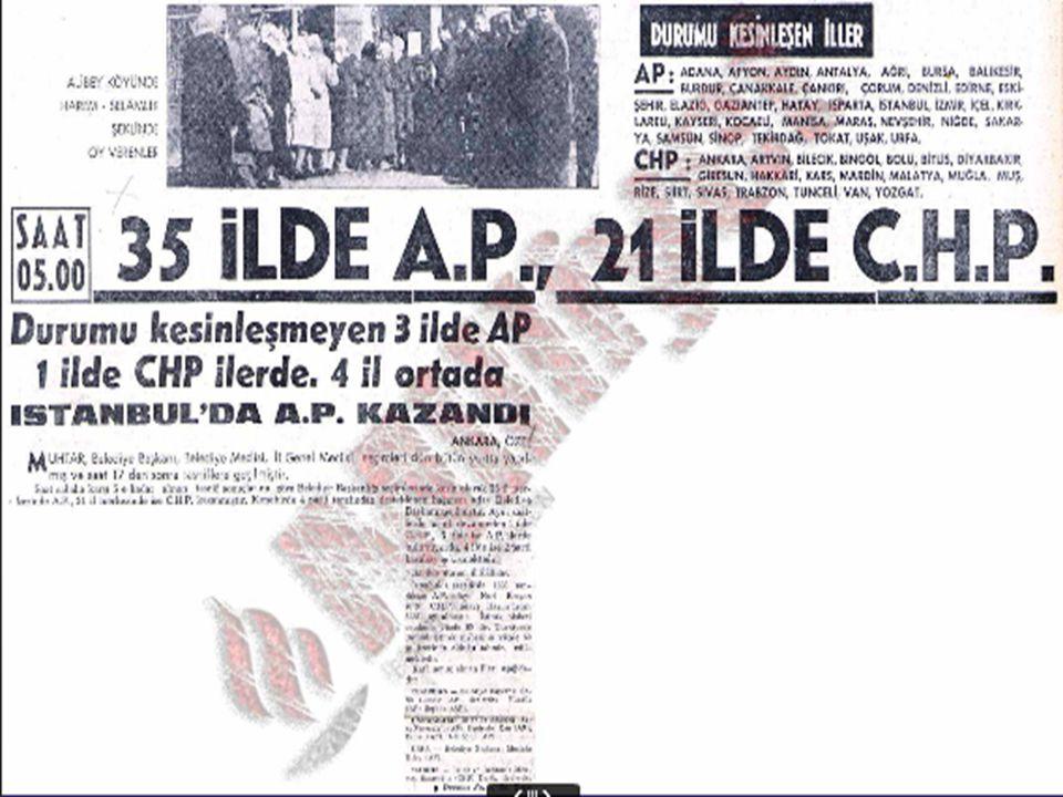 1963 – 1977 Yerel Seçimleri 1963 seçim sonuçları ülkenin varolan siyasal güç dengesini alt üst etmiş, ülkenin yine fiilen iki parti sistemi içinde olduğunu göstermiştir.