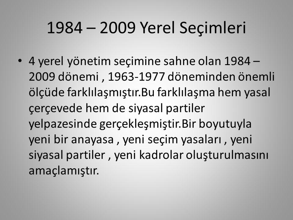 1963 – 1977 Yerel Seçimleri Bu ana kadar kısa bir değerlendirme yapmak gerekirse ; Türkiye'nin yerel yönetimler deneyimi bağlamında 1970-1980 döneminin çok zengin laboratuar niteliği taşıdığını öne sürmek yanılgı olmasa gerekir.