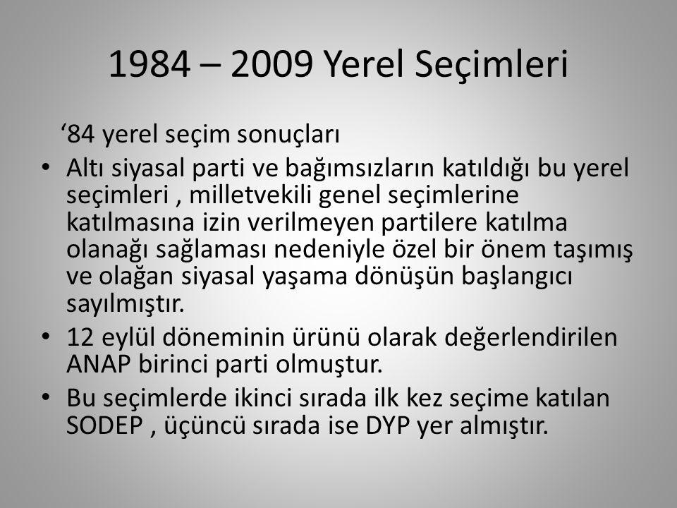 1984 – 2009 Yerel Seçimleri 1984 Yerel Seçimleri 25 Mart seçimlerinin bir özelliği de seçimlere sağında solunda bölünmüş olarak girmeleri olmuştur.1980 öncesinde merkez sağ ve merkez solda birer büyük parti bulunmaktaydı: AP ve CHP.