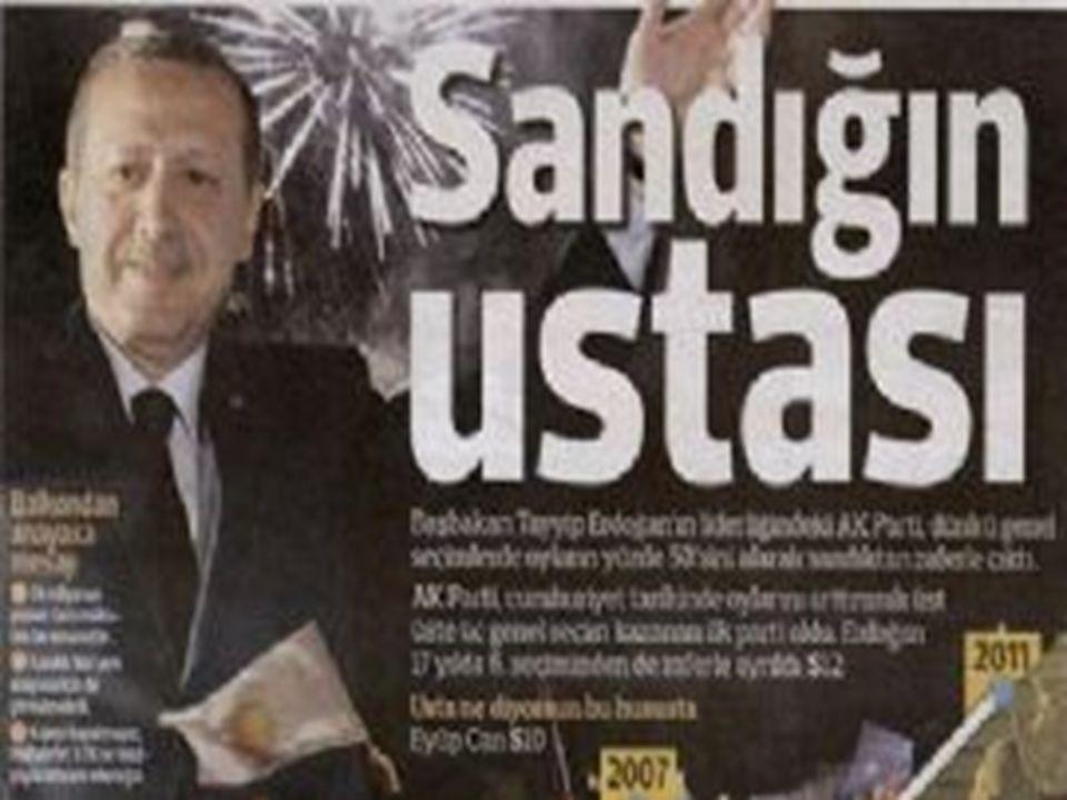 PartiGenel başkanıAldığı oy sayısıAldığı oy oranı Belediye Başkanlığı sayısı Adalet ve Kalkınma PartisiRecep Tayyip Erdogan12,449,187% 38.641442 Cumhuriyet Halk PartisiDeniz Baykal7,960,562% 24.70503 Milliyetçi Hareket PartisiDevlet Bahçeli5,315,180% 16.50483 Saadet PartisiNuman Kurtulmuş1,729,182% 5.3780 Demokratik Toplum PartisiAhmet Türk1,661,117% 5.1696 Demokrat PartiSüleyman Soylu1,164,858% 3.62148 Demokratik Sol PartiZeki Sezer925,575% 2.8760 Büyük Birlik PartisiYalçın Topçu384,483% 1.1920 Bağımsız239,849% 0.7445 Anavatan PartisiSalih Uzun196,049% 0.6116 Bağımsız Türkiye PartisiHaydar Baş101,090% 0.314 Türkiye Komünist PartisiErkan Baş28,101% 0.090 Özgürlük ve Dayanışma PartisiHayri Kozanoğlu21,745% 0.074 Emek PartisiLevent Tüzel15,298% 0.052 Liberal Demokrat PartiCem Toker8,608% 0.030 Halkın Yükselişi PartisiYaşar Nuri Öztürk8,192% 0.030 Millet PartisiAykut Edibali5,772% 0.020 Hak ve Özgürlükler PartisiBayram Bozyel5,670% 0.020 İşçi PartisiDoğu Perinçek867% 0.000 Barış ve Demokrasi PartisiMustafa Ayzit151% 0.000 Toplam32,221,536% 100.002903