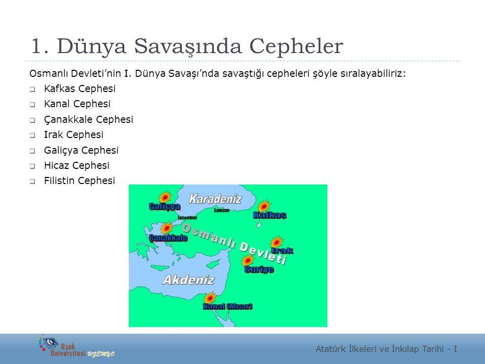 1. Dünya Savaşında Cepheler Osmanlı Devleti'nin I. Dünya Savaşı'nda savaştığı cepheleri şöyle sıralayabiliriz:  Kafkas Cephesi  Kanal Cephesi  Çana