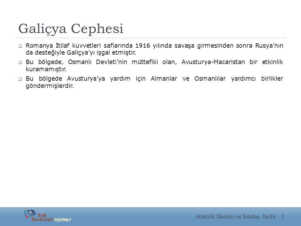 Galiçya Cephesi  Romanya İtilaf kuvvetleri saflarında 1916 yılında savaşa girmesinden sonra Rusya'nın da desteğiyle Galiçya'yı işgal etmiştir.  Bu b
