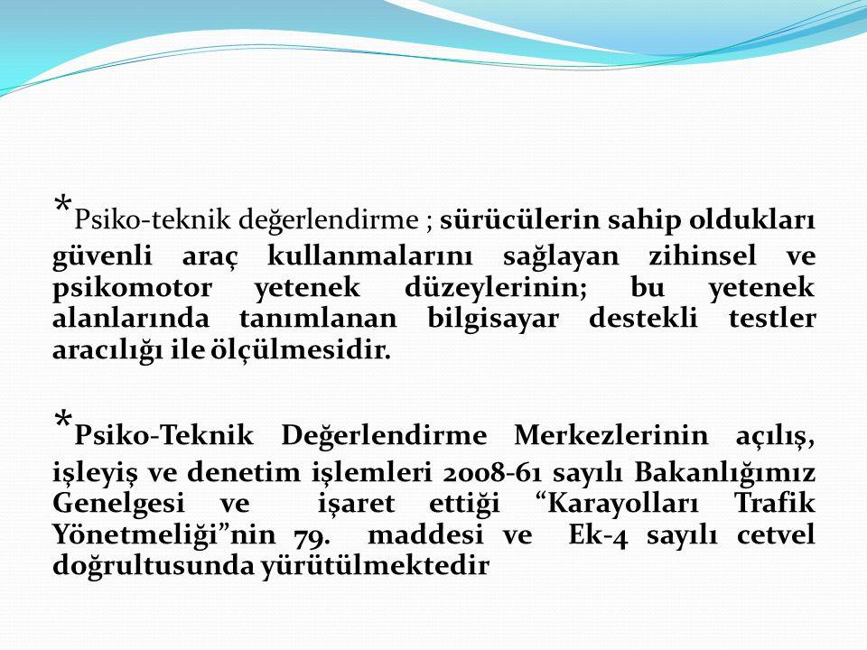 BAŞVURUDA İSTENEN BELGELER 1Dilekçe (çalışma saatleri,cihaz sayısı..vs.) 2Merkezde çalışacak psikoloğun noter tasdikli diploması 3Psiko-teknik değerlendirme merkezinin onaylı krokisi 4Türk Psikologlar Derneği tarafından verilen bilgisayar destekli testlerin Türkiye toplumu özelliklerine uygunluğunu gösterir belge (norm belgesi) 5Merkezde kullanılacak bilgisayar destekli testleri kullanacak psikoloğun bu eğitimi aldığına dair belge
