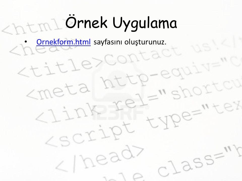 Örnek Uygulama Ornekform.html sayfasını oluşturunuz. Ornekform.html