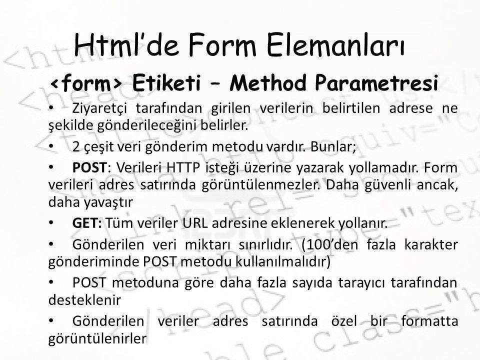 Html'de Form Elemanları Etiketi – Method Parametresi Ziyaretçi tarafından girilen verilerin belirtilen adrese ne şekilde gönderileceğini belirler. 2 ç