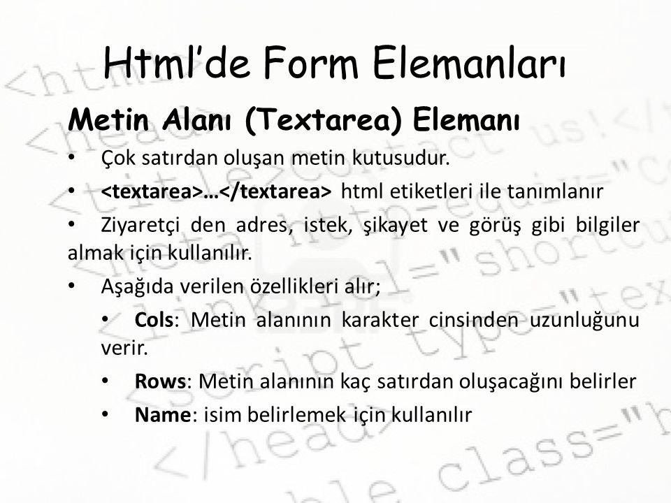 Html'de Form Elemanları Metin Alanı (Textarea) Elemanı Çok satırdan oluşan metin kutusudur. … html etiketleri ile tanımlanır Ziyaretçi den adres, iste