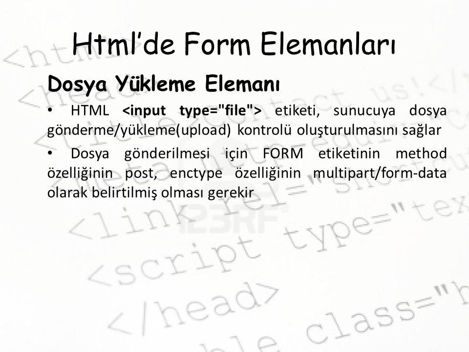 Html'de Form Elemanları Dosya Yükleme Elemanı HTML etiketi, sunucuya dosya gönderme/yükleme(upload) kontrolü oluşturulmasını sağlar Dosya gönderilmesi