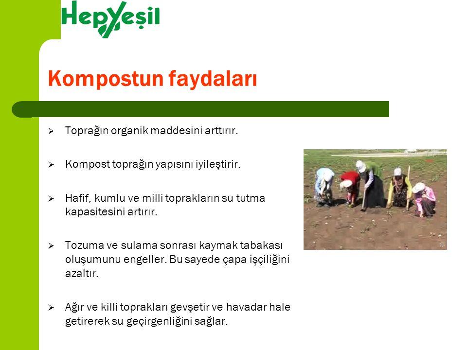 Kompostun faydaları  Toprağın organik maddesini arttırır.  Kompost toprağın yapısını iyileştirir.  Hafif, kumlu ve milli toprakların su tutma kapas
