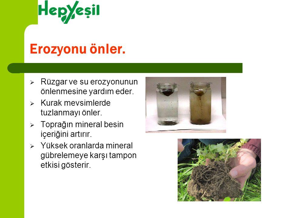 Rüzgar ve su erozyonunun önlenmesine yardım eder.  Kurak mevsimlerde tuzlanmayı önler.  Toprağın mineral besin içeriğini artırır.  Yüksek oranlar