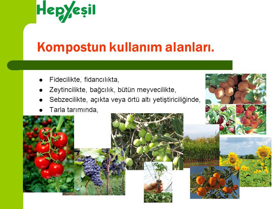 Fidecilikte, fidancılıkta, Zeytincilikte, bağcılık, bütün meyvecilikte, Sebzecilikte, açıkta veya örtü altı yetiştiriciliğinde, Tarla tarımında, Kompo