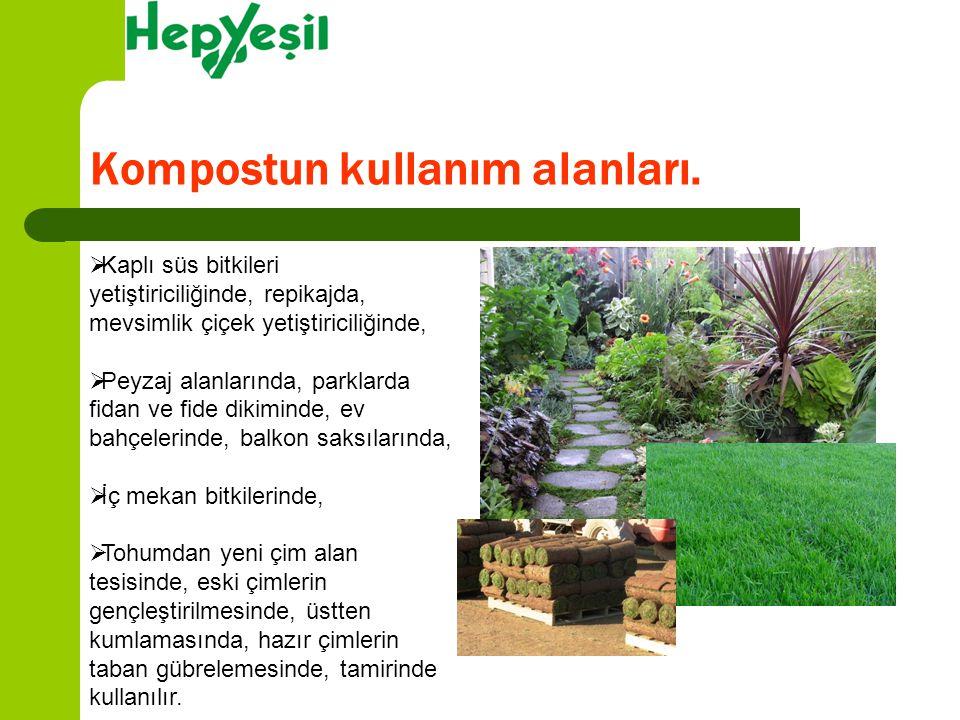  Kaplı süs bitkileri yetiştiriciliğinde, repikajda, mevsimlik çiçek yetiştiriciliğinde,  Peyzaj alanlarında, parklarda fidan ve fide dikiminde, ev b