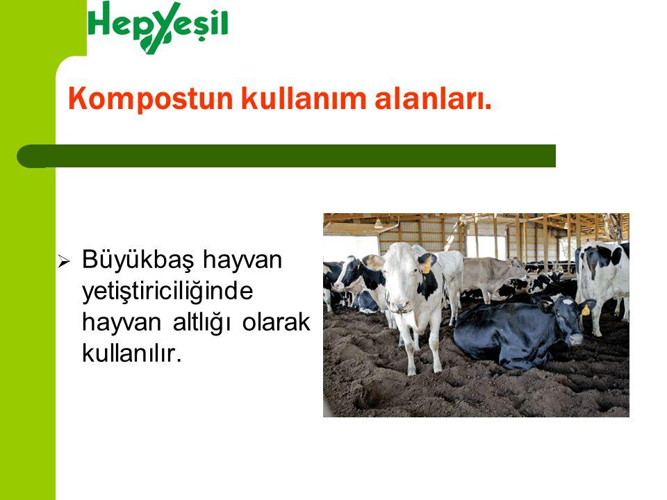  Büyükbaş hayvan yetiştiriciliğinde hayvan altlığı olarak kullanılır. Kompostun kullanım alanları.