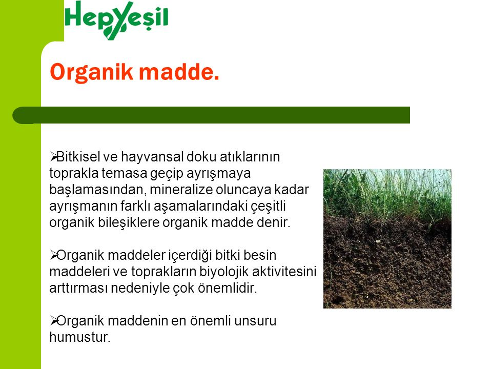 Organik madde.  Bitkisel ve hayvansal doku atıklarının toprakla temasa geçip ayrışmaya başlamasından, mineralize oluncaya kadar ayrışmanın farklı aşa
