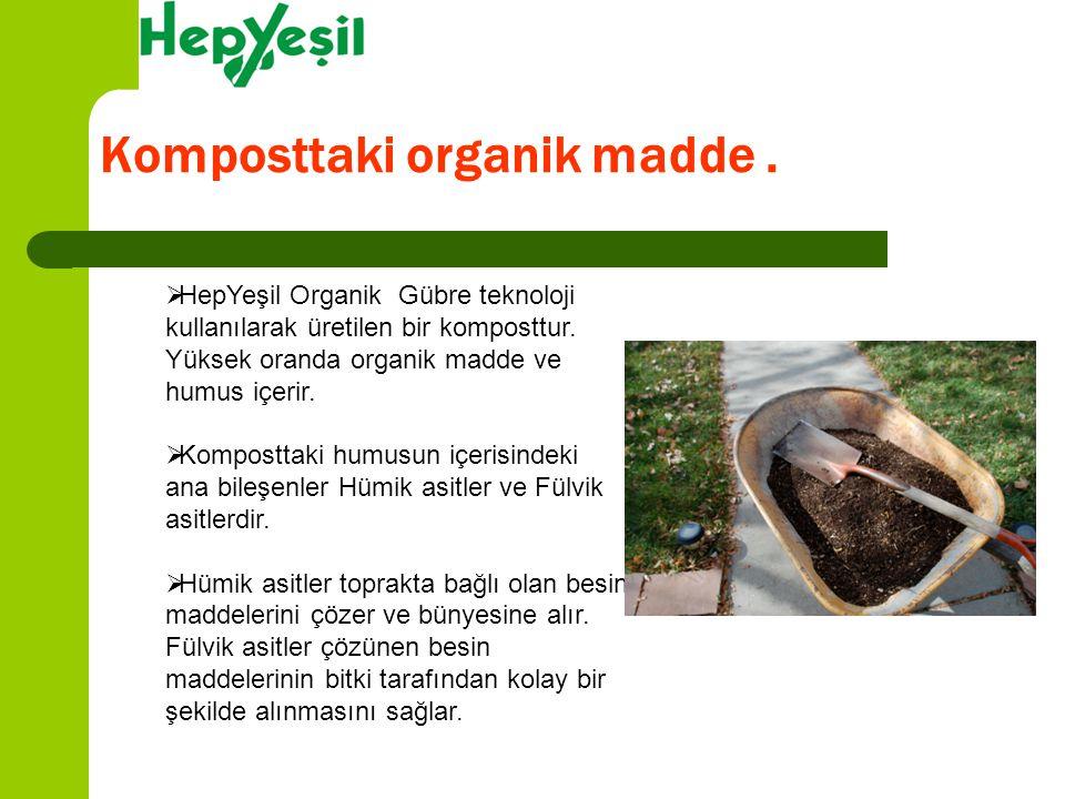 Komposttaki organik madde.  HepYeşil Organik Gübre teknoloji kullanılarak üretilen bir komposttur. Yüksek oranda organik madde ve humus içerir.  Kom