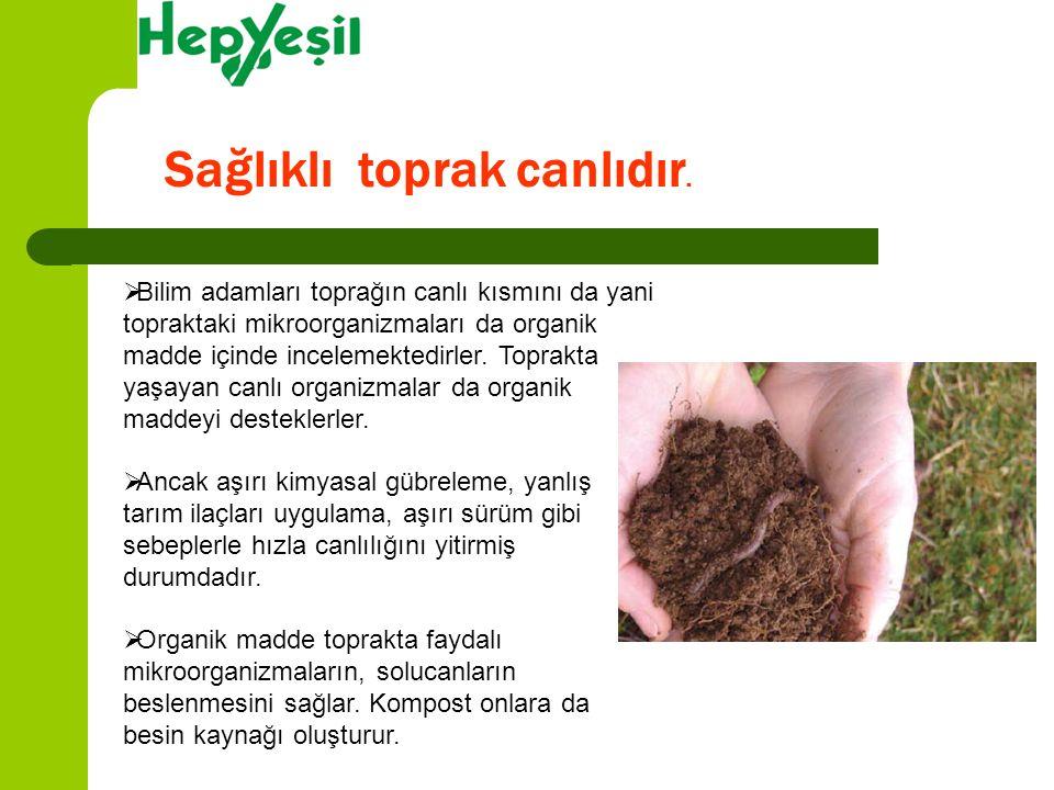 Toprak gibi kompost da canlıdır. Yaşayan bir materyaldir.
