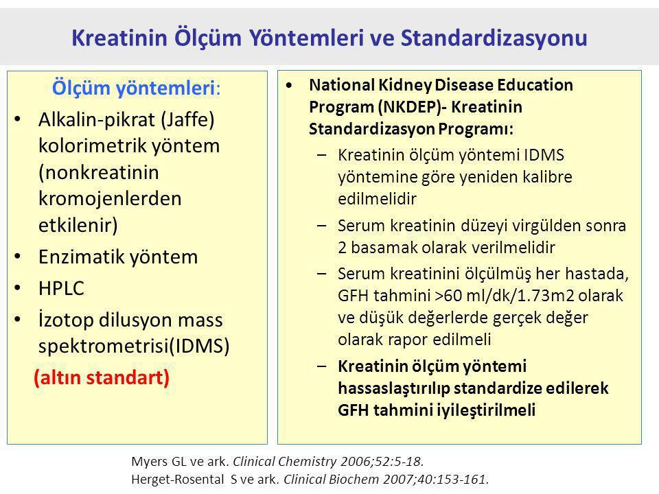 Ölçüm yöntemleri: Alkalin-pikrat (Jaffe) kolorimetrik yöntem (nonkreatinin kromojenlerden etkilenir) Enzimatik yöntem HPLC İzotop dilusyon mass spektrometrisi(IDMS) (altın standart) Kreatinin Ölçüm Yöntemleri ve Standardizasyonu National Kidney Disease Education Program (NKDEP)- Kreatinin Standardizasyon Programı: –Kreatinin ölçüm yöntemi IDMS yöntemine göre yeniden kalibre edilmelidir –Serum kreatinin düzeyi virgülden sonra 2 basamak olarak verilmelidir –Serum kreatinini ölçülmüş her hastada, GFH tahmini >60 ml/dk/1.73m2 olarak ve düşük değerlerde gerçek değer olarak rapor edilmeli –Kreatinin ölçüm yöntemi hassaslaştırılıp standardize edilerek GFH tahmini iyileştirilmeli Myers GL ve ark.